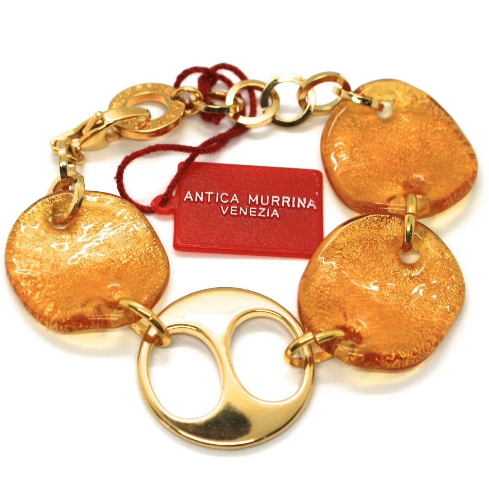 Bracelet Antica Murrina Venezia, Glass Murano, Discs Wavy, Leaf Golden