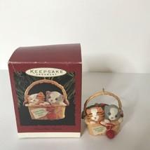 Hallmark Keepsake Ornament Close-Knit Friends 1996 Kittens Basket Knitti... - $24.75