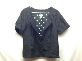 Ann Taylor LOFT Black Button Up Lined Short Sleeve Shirt/Jacket Sz 12