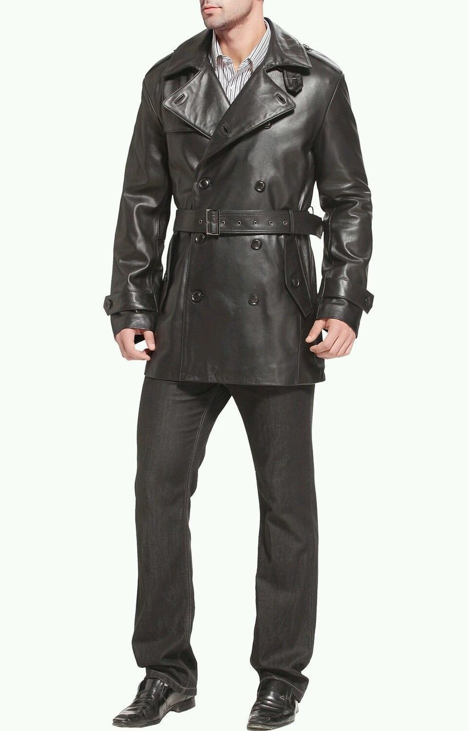 WINTER MEN LEATHER COAT TAILOR MADE REAL GENUINE LEATHER TRENCH COAT -19