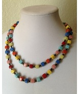 Vintage Czech Colorful Square Glass Bead Long Strand Fashion Necklace - $85.00