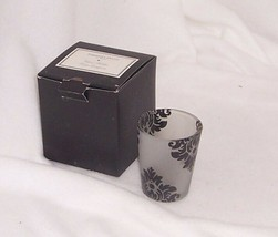 Partylite Forbidden Fruits Votive Holder Frosted Glass w Black Pattern P... - $7.87