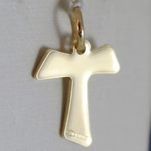 18K YELLOW GOLD CROSS, FRANCISCAN TAU TAO, SAINT FRANCIS, 2.0 CM, MADE IN ITALY image 2
