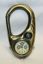 """Gold Tone Carbineer with Watch, Tachymeter and Compass 4"""" X 2"""" WORKS - $19.79"""
