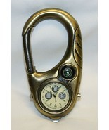"Gold Tone Carbineer with Watch, Tachymeter and Compass 4"" X 2"" WORKS - $19.79"