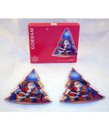 New Gorham Crystal 2 Santa Plates Christmas Tree Shaped Holiday Mint Can... - $17.99