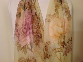 Peony Sheer Fabric Scarf, pastel colors of your choice image 4