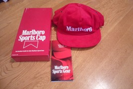 New Vintage 1985 Marlboro Cigarettes Sports Cap Red Corduroy Snapback... - $19.99