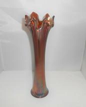 "Fenton Vase Fine Ribbed 11"" Marigold Purple Glass - $71.25"