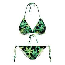 Leaf Print Strappy Women Bikini Set - $15.64