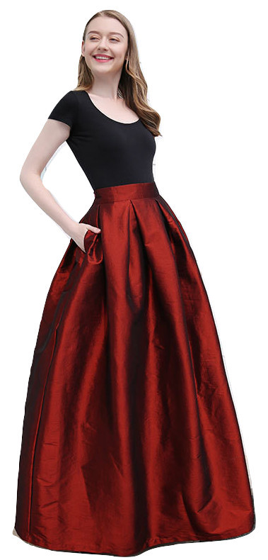 Women BURGUNDY A-Line MAXI Ruffle Skirt Outfit Taffeta Party Skirt High Waisted