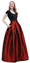 Women BURGUNDY A-Line MAXI Ruffle Skirt Outfit Taffeta Party Skirt High Waisted  image 1