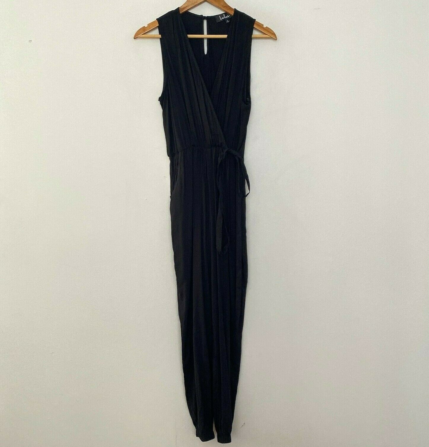 Primary image for NEW Lulus S Small Take On The Day Sleeveless Surplice Jumpsuit Black