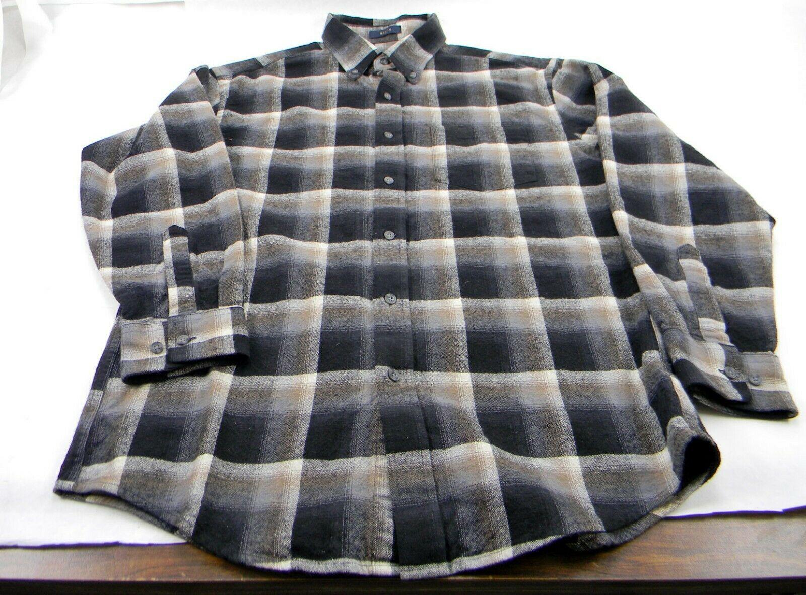 New Pendleton Mason Black Brown Ombre Plaid Long Sleeve Flannel Men's M Shirt image 3