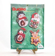 Christmas Ornaments Counted Cross Stitch Picture Frame Kit Snowman Santa... - $19.30