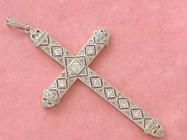 """ANTIQUE DECO .83ctw MINE ROSE DIAMOND PLATINUM LARGE 2-5/16"""" CROSS PENDA... - $1,484.01"""
