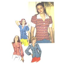 1970s Vintage Simplicity Sewing Pattern 6518 Misses Fitted Top Blouse 10 FF - $8.95