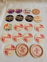 VTG MIX LOT OF 19 GLASS MILK COFFEE CREAM DAIRY BOTTLE CAPS 1 5/8 - $54.45