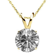"0.50CT Amazing Diamond G-H I1-I2 14K YG Solitaire Pendant Necklace 18"" Chain - $303.63"