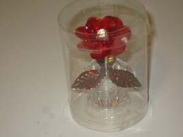 """POTTED RED FLOWER IN FLOWERPOT FIGURINE LUCITE 3"""" FACETED PETALS - $9.36"""