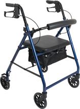 """Aluminum Premium Rollator, Standard, 6"""" Wheels, 300 lb Capacity, Blue - $59.99"""