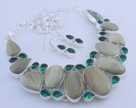 Imperil Jasper-Diopside Silver Overlay Handmade Jewelry Necklace 92 Gr. F-446-43 - $27.46