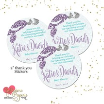 "Mermaid favor stickers thank you tags baby shower 2"" round stickers pers... - $9.99+"