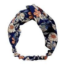 Navy Blue Flower Nylon Head Wrap Headband Vintage Elastic Hairband Hair Accessor image 2