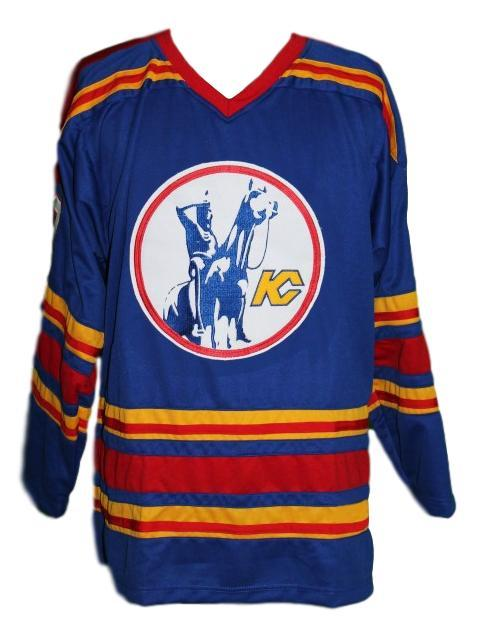 Charron  10 kansas city custom retro hockey jersey blue   1