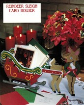 Plastic Canvas Reindeer Sleigh Xmas Card Holder Rudolph Candy Basket Pattern - $6.99