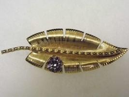 Vintage Gold Tone Leaf Brooch Large Diamond Tone Gem Costume Fashion Jew... - $10.66