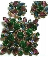 VINTAGE JULIANA PURPLE GREEN BLUE OPEN BACK LARGE RHINESTONE BROOCH & EA... - $150.00