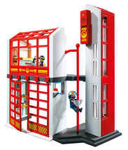 PLAYMOBIL Fire Station Pretend Playset Indoor Home with Alarm Children K... - $67.45