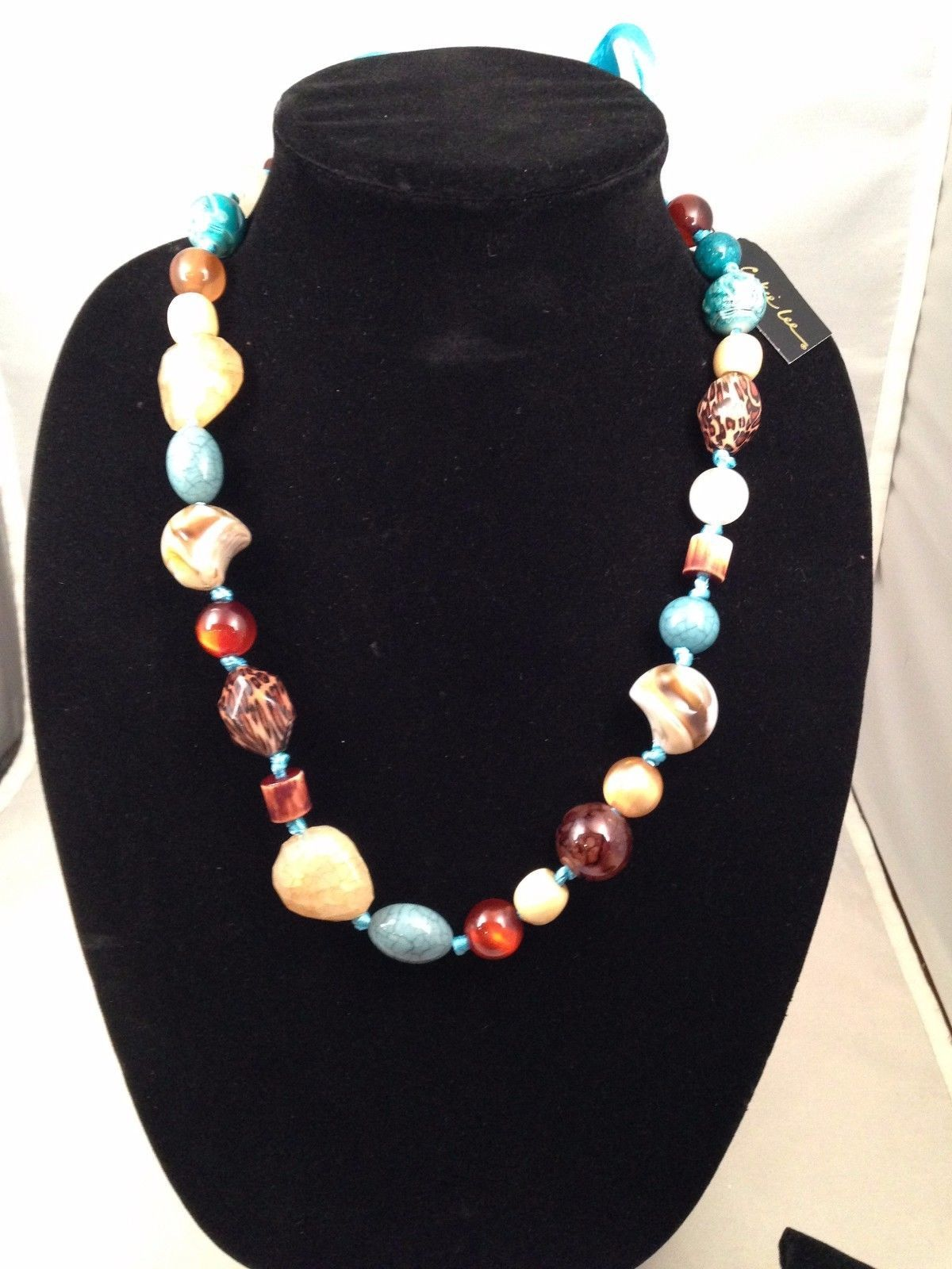 New Cookie Lee Adjustable Ribbon Necklace w/Various Polished Stones