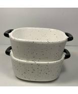 Fall Buffalo Cottage Mini Bakers w/ Handles White Black Serving Bowls Sq... - $19.79
