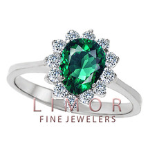 8x6mm PEAR SHAPED EMERALD COCKTAIL RING 14K WHITE GOLD SIZE 7 - $296.01