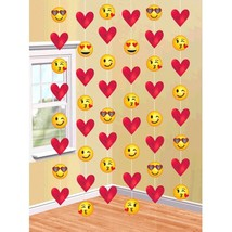 Emoji Hearts Valentine's Day 6 Ct 7 ft Doorway String Decoration - $5.99