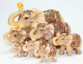 Feng Shui Set of 7 ~ Vintage Elephant Family Statues Wealth Lucky Figurines - $53.80