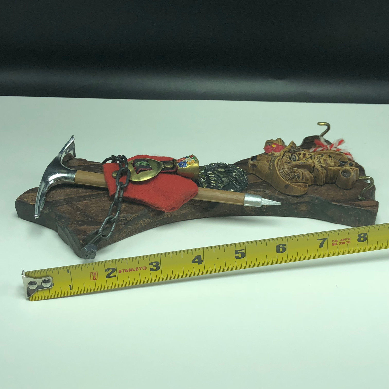 Germany wood carving man estate pipe black forest bell wall hanging pick axe elk