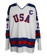 Mike Eruzione #21 Team USA Miracle On Ice Hockey Jersey New White Any Size - $54.99+
