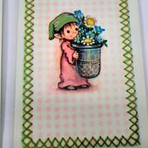 6 Elf Carrying Flowers Playing Cards for Crafting, Re-purpose, Up-cycle, Vintage image 3