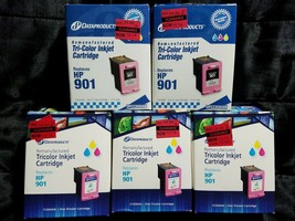 HP 901 Color Ink Print Cartridges CC656AN (5Pk) Tricolor Remanufactured Expired - $19.99