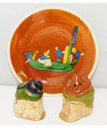 Vintage Tlaquepaque Mexico Salt & Peppers Shakers Siesta Couple + Small ... - $9.70