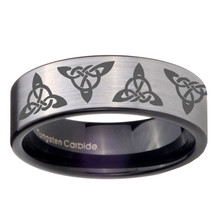 8mm Celtic Triangles Pipe Cut Brushed Silver Tungsten Custom Ring for Men - $39.99