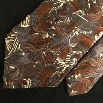 "Bill BLASS  Men's Tie, 4"" x 60"" , Brown Red Leaves Floral - $26.60"