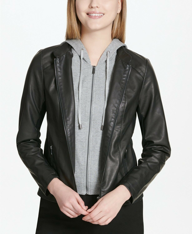 New $140 Calvin Klein Faux-Leather Gray Hoodie Black Jacket Coat Size XL