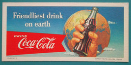 INK BLOTTER 1956 - Drink Coca Cola Bottle in Hand Earth Globe - $5.85