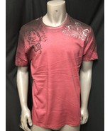 NWT Key Closet LA Men's Short Sleeve Burgundy  T-Shirt Foil Tattoo Studs... - $27.94