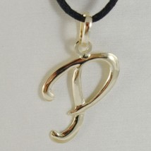 18K YELLOW GOLD PENDANT CHARM INITIAL LETTER P, MADE IN ITALY 0.9 INCHES, 23 MM image 1