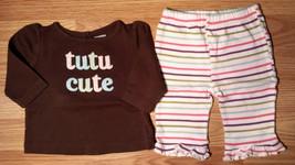 "Girl's Size 3-6 M Months 2 Pc Brown Gymboree ""Tutu Cute"" L/S Top + Strip... - $14.00"